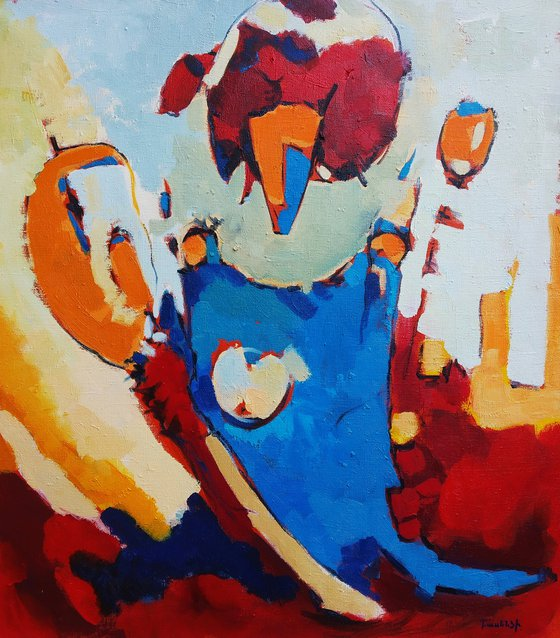 Abstract - The prince (70x80cm, oil painting, ready to hang)