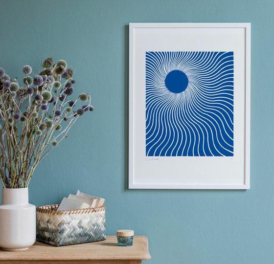 Rays (Blue Geometric Linocut Print)