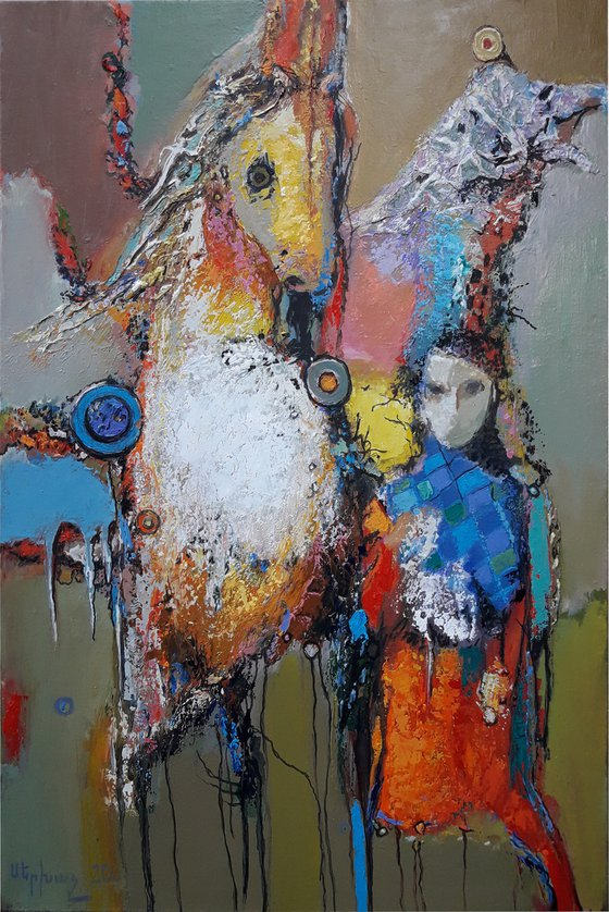Girl with horse 50x70cm ,oil/canvas, ready to hang