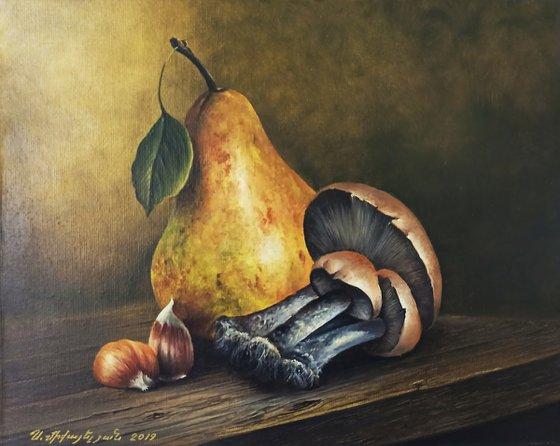 Still life-Pear, mushrooms, garlic(24x30cm, oil painting, ready to hang)