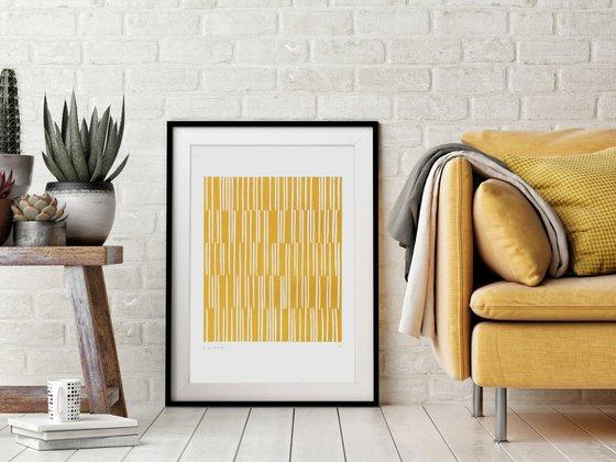 Canes (Yellow Geometric Linocut Print)