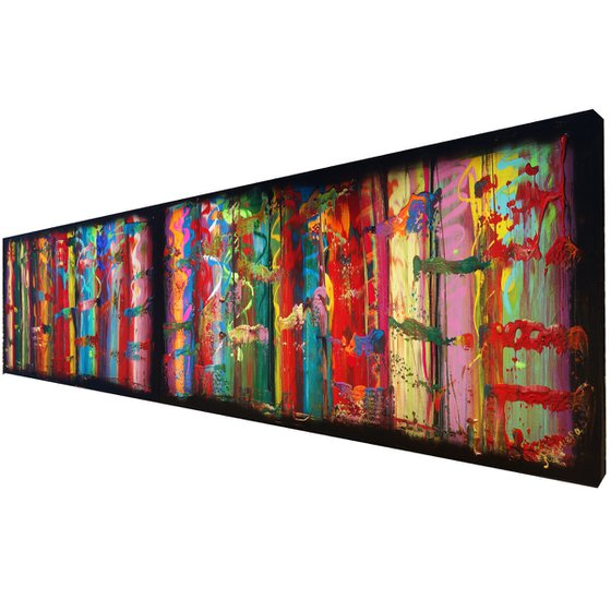 Rainbow A4 Large abstract paintings Palette knife 50x200x2 cm set of 2 original abstract acrylic paintings on stretched canvas