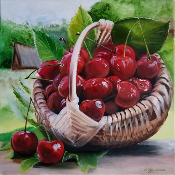 Cherry - Nature's Candy. Original Oil Painting on Canvas. Summer Still life. Summer Berries Room accent. Summer painting.