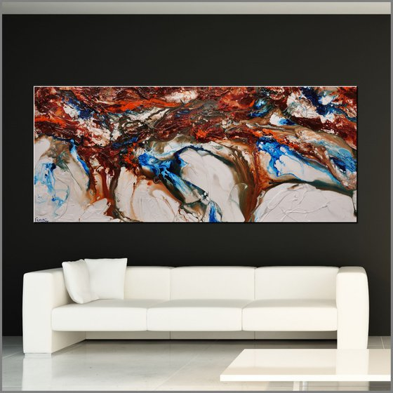 Blu Coast 240cm x 100cm Blue Oxide Cream Abstract Art