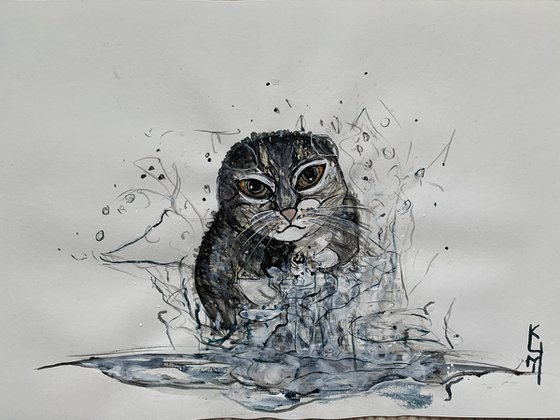 Underwater Animals Cat Painting for Home Decor, Kitten Portrait Art Decor, Artfinder Gift Ideas
