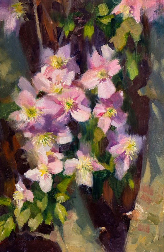 'Clematis climbing an Ash Tree' - Plein Air, Original Oil Painting, One of a kind