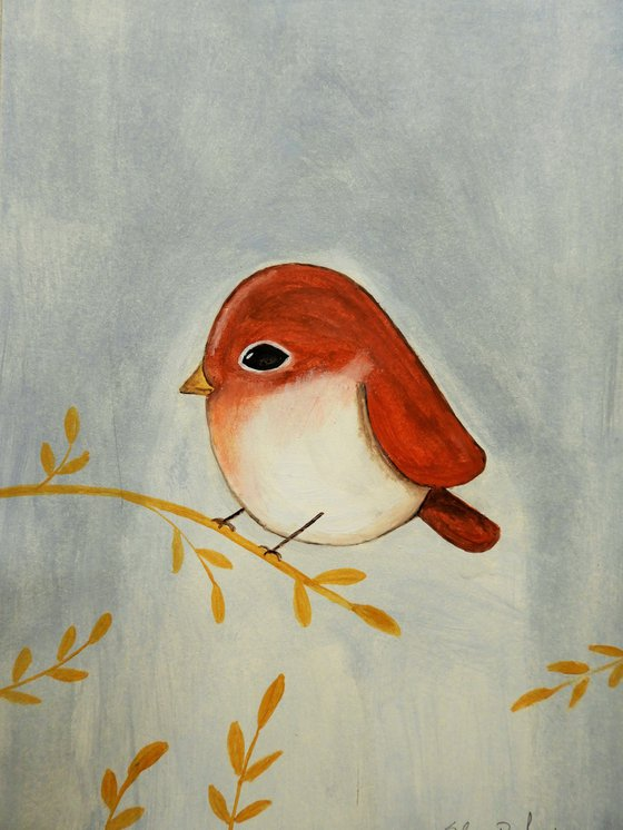 The small bird in red 2 - oil on paper