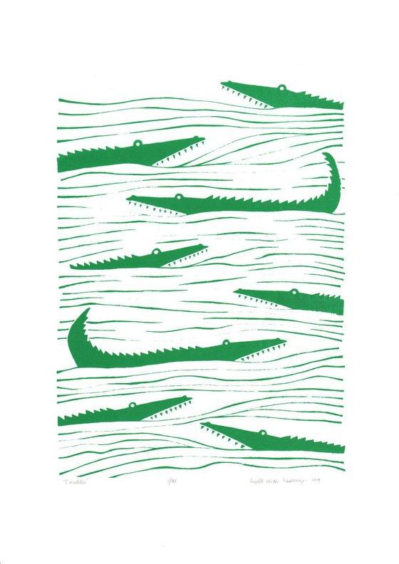 Crocodiles (green) - Unframed - FREE Worldwide delivery
