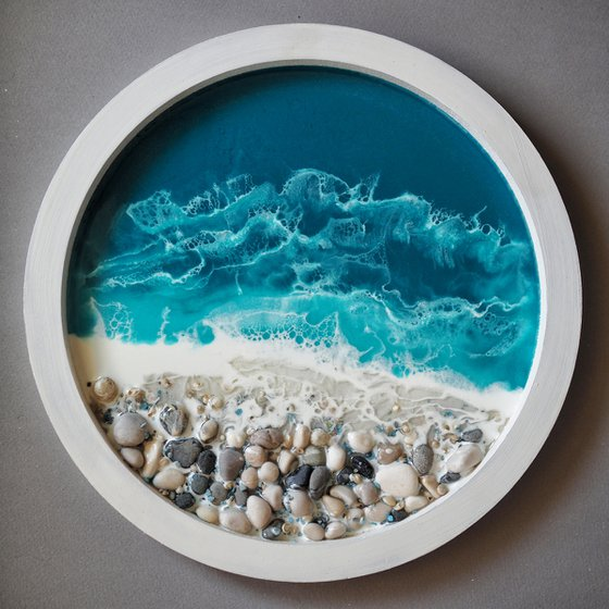 My little window with seaview - original seascape 3d artwork, framed, ready to hang