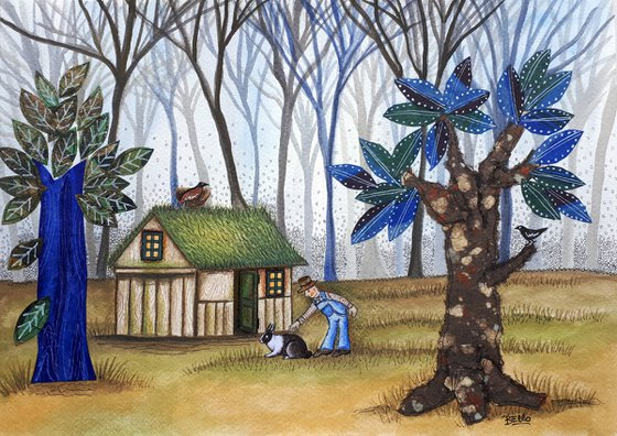 Little house in blue forest