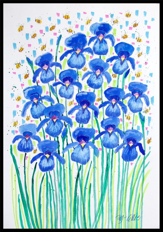 Blue Iris and bees, watercolor on paper