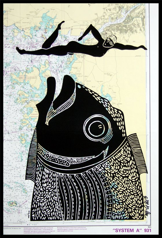 The Danger of being Male, linocut on seachart