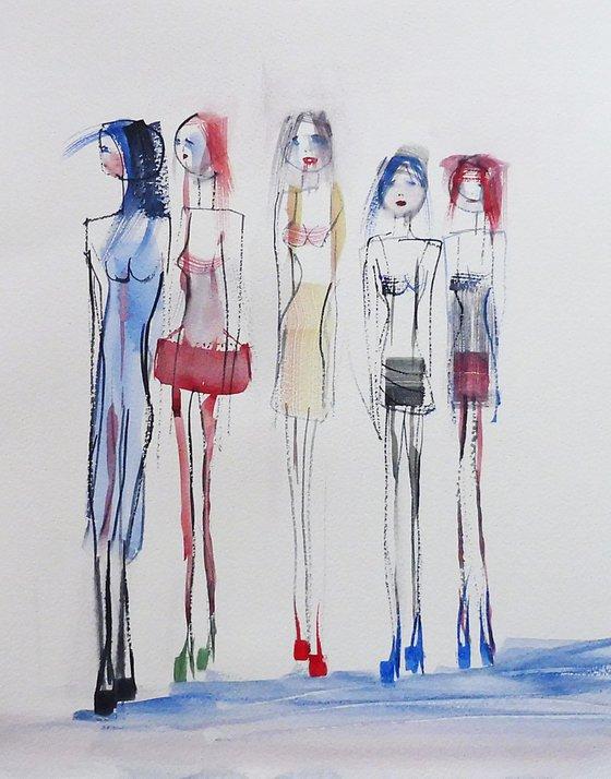 FASHION GIRLS. Sketch Study.