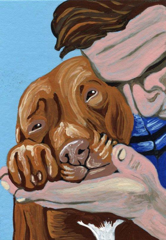 ACEO ATC Original Miniature Painting Pit Bull Pet Dog Human Love Art-Carla Smale