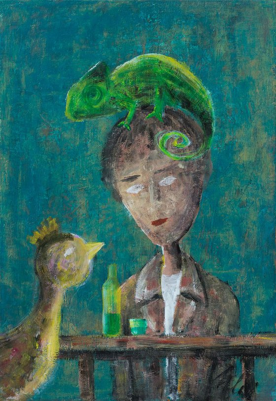 The Poet drinking absinthe with bird and chameleon