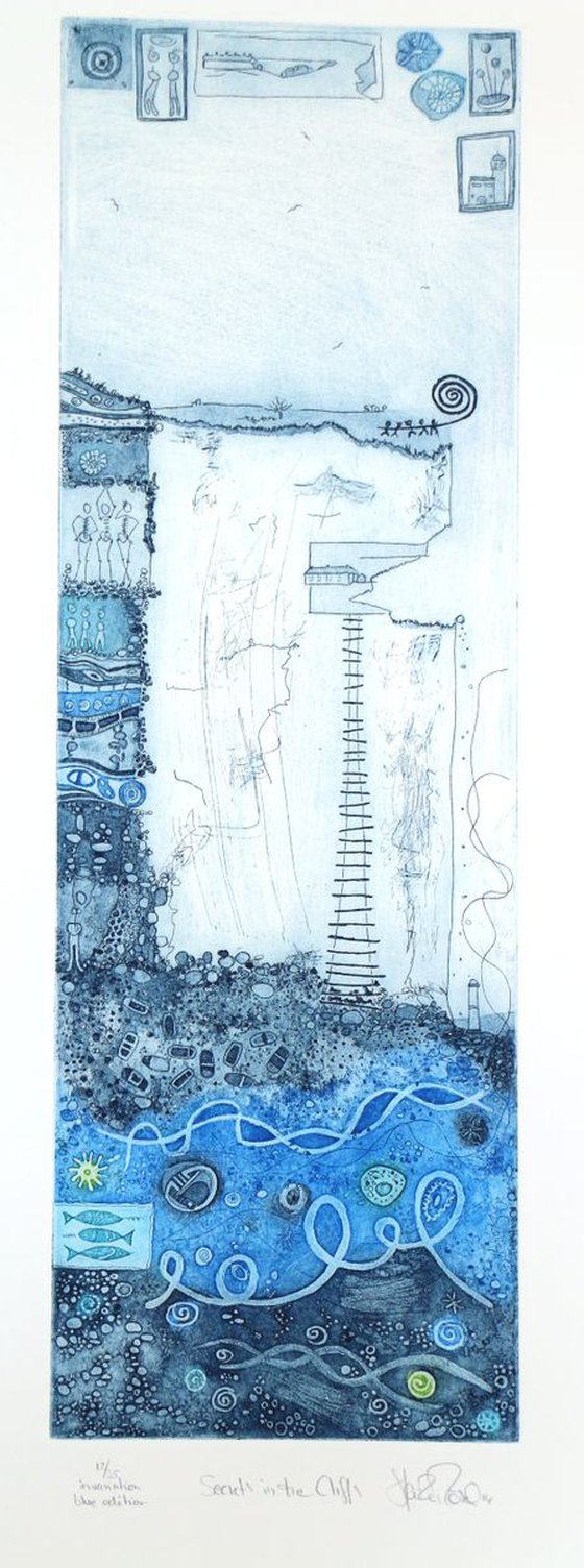 """Heike Roesel """"Secrets in the cliffs"""", fine art etching in 2 editions, 35 each (blue)"""