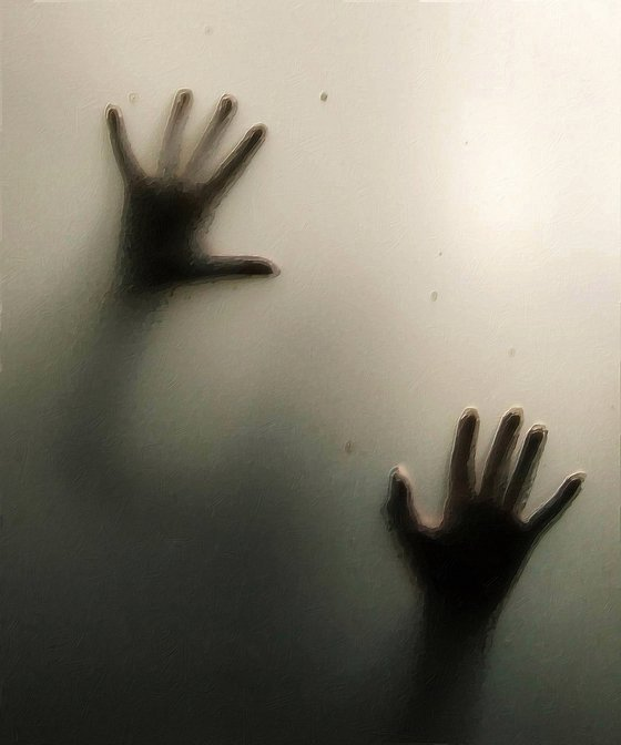 Hands Pressed Against Window Glass Frosted Painting