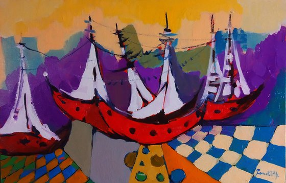 Abstract-boats (40x60cm, oil painting, ready to hang)