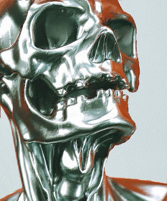 Sugar Skull Metal Robot Pattern Head Face Mayan Mexico