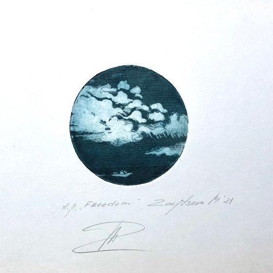 FREEDOM-II/ etching / energy printing. D⌀ 10сm/ brass board