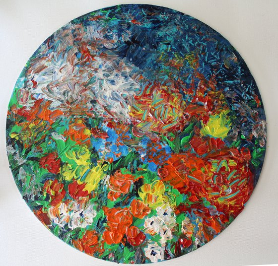 Peace in my garden - Abstract impressionistic palette knife textured painting on canvas board