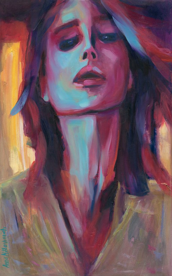 SUPREME - Modern woman portrait, contemporary expressionist original painting on canvas