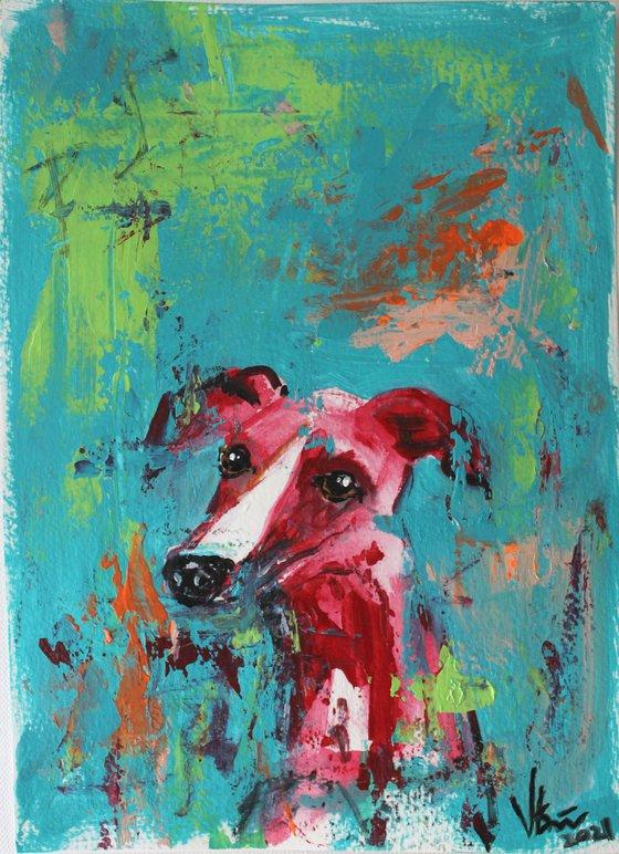Dreamer - Dog- animal art painting - grey hound painting-whippet- dog lovers gift