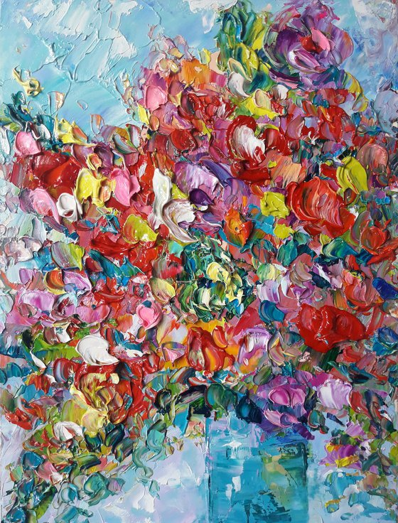 painting Summer bright bunch of flowers #1