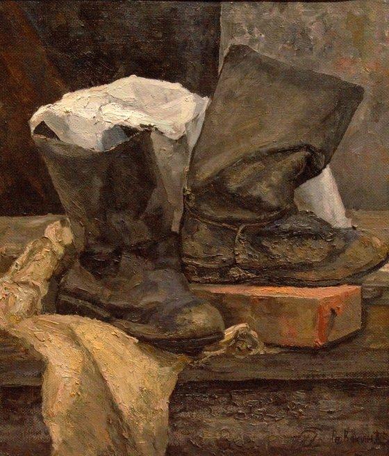 Grandpa farmers boots. Still life realism oil painting