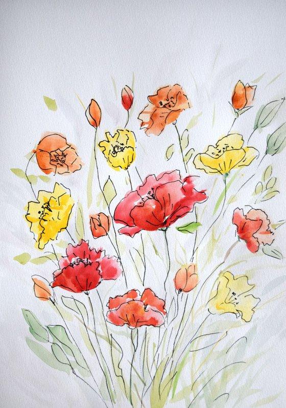 """Watercolour Flower's composition #7"" 21 х 29.7 (A4 size)"