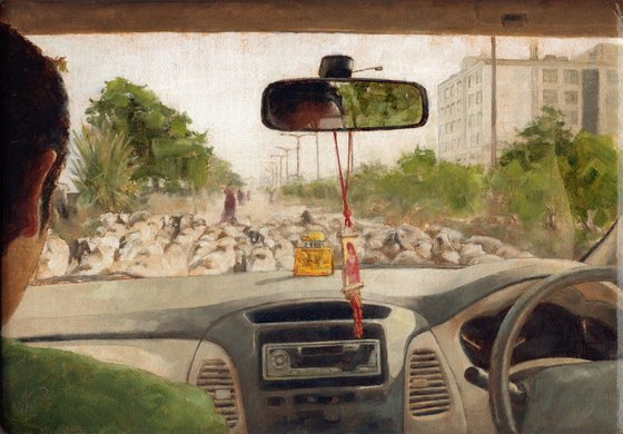 Car Interior Landscape Cityscape Oil Painting / Animal sheep / Figure / People / Realistic