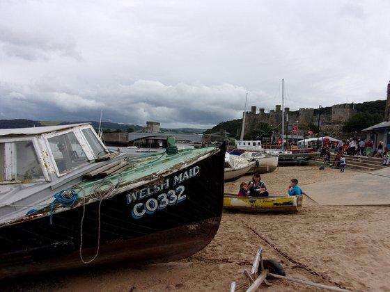 Conwy beach scene, Wales