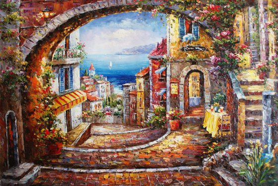 """On the way to the beach"""" canvas / oil. Size 60x90 cm."""