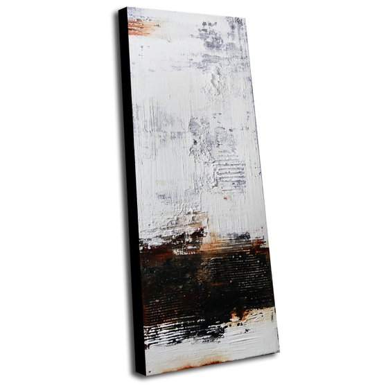 LOST LETTER - 120 X 50 CMS - ABSTRACT ACRYLIC PAINTING ON CANVAS * WHITE * RUST * BLACK