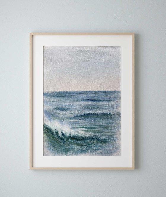 """""""Ocean Diary, June 26th, 2020"""" mixed-media painting"""