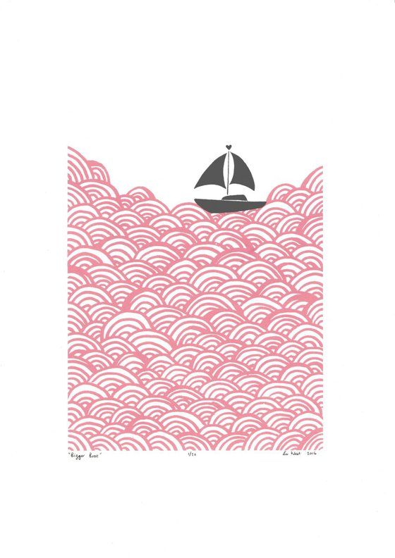 Bigger Boat in Rose Quartz & Grey - Unframed - FREE Worldwide Delivery