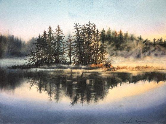 Morning reflection landscape