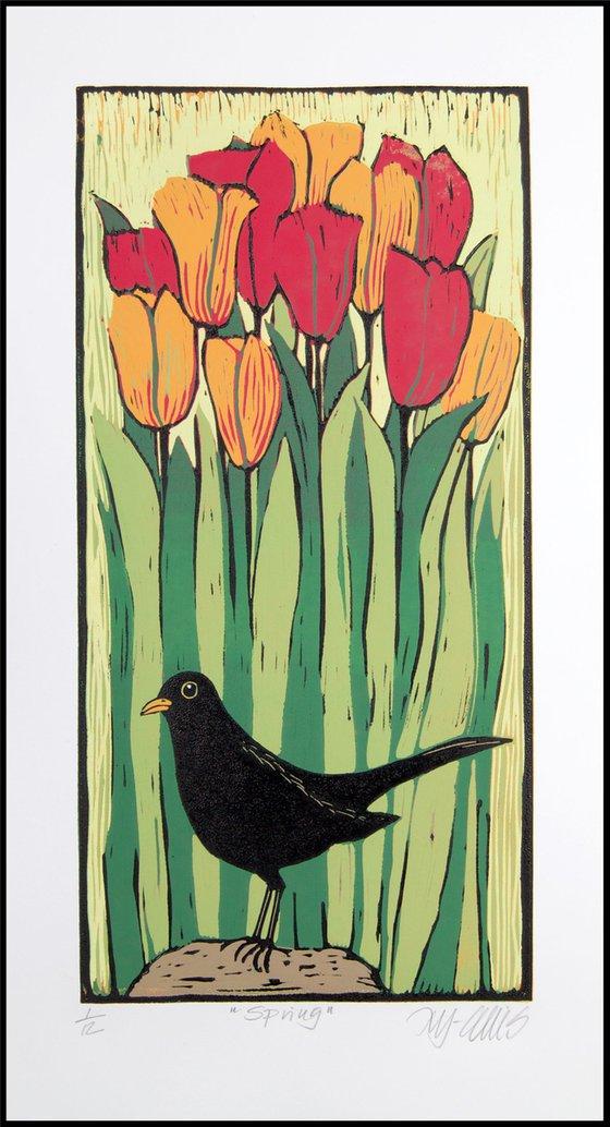 Spring, linocut reduction