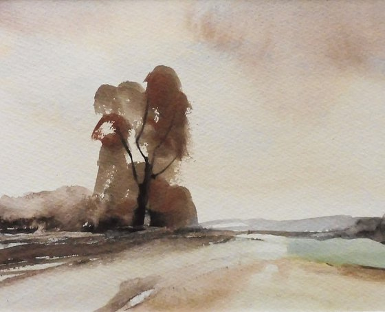 CHADDESLEY CORBETT FIELDS, Autumn, Worcestershire. Original watercolour landscape painting with mount.