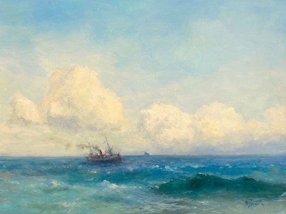 Ocean, Original oil Painting, Handmade artwork, Signed, One of a Kind