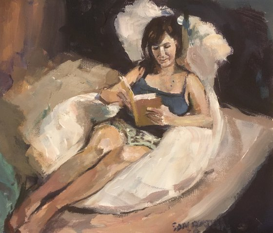 Woman bedroom Reading