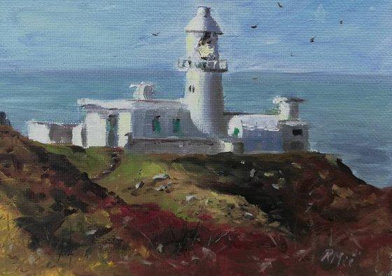 Strumble Head Lighthouse, Pembrokeshire, South West Wales - oil miniature