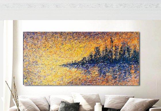 "New York panorama Hudson river Night city ~ ROLLED ~ 43"" x 81"" /110 x 205 cm."