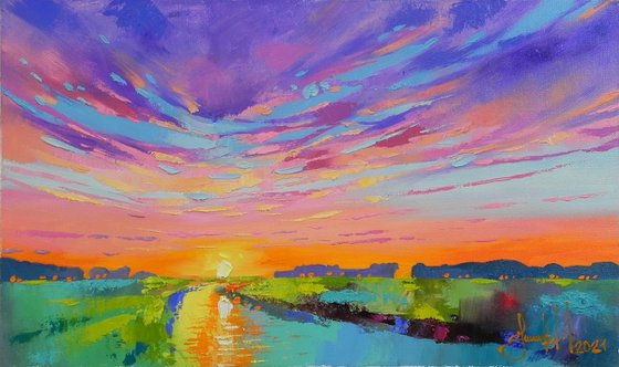 """""""By the river""""-2021 Abstract landscape Original art"""