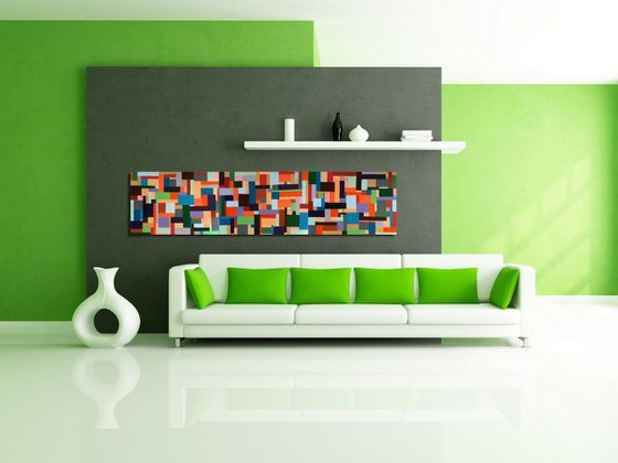 """Playful Rectangles  _ Large Abstract_150x70cm (59""""x27.5"""")"""