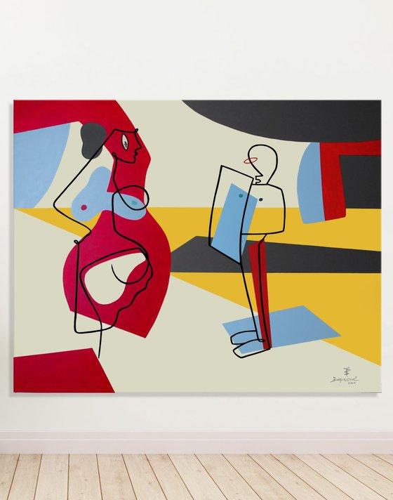 """SELFI(e)SH QUEEN"" Abstract figurative minimalistic Modern Mid century Contemporary Art"
