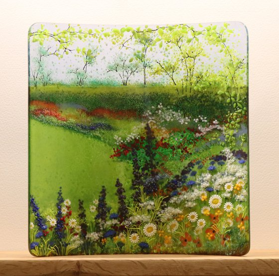 Glass square flower garden curve (Made to order)