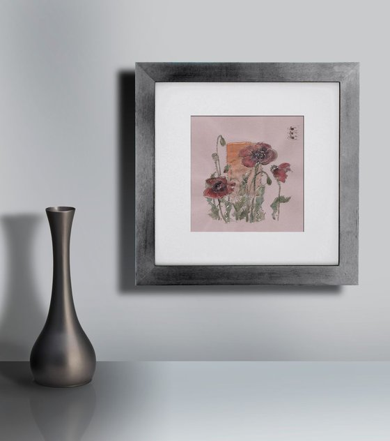 Burgundy red poppies with mint green leaves