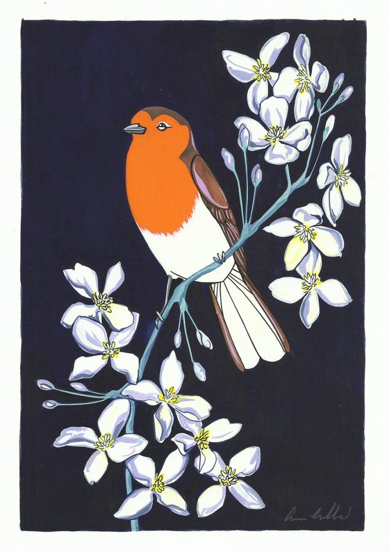 Robin and Clematis