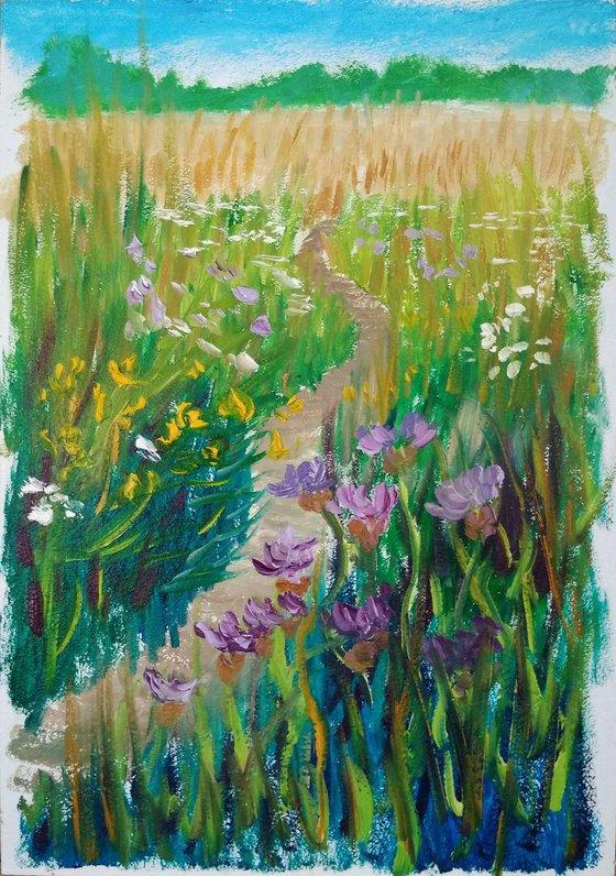 Wildflowers at the meadow. Pleinair painting